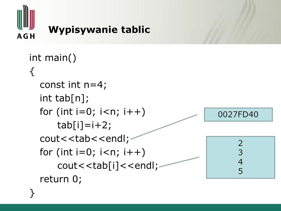 Wypisywanie tablic int main() { const int n=4; int tab[n]; for (int i=0; i<n; i++) tab[i]=i+2; cout<<tab<<endl; cout<<tab[i]<<endl; return 0; }